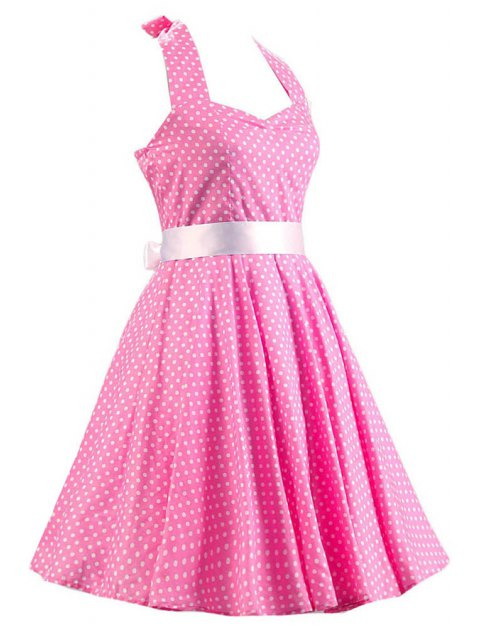 trendy Sleeveless Polka Dot Self-Tie Dress - PINK 2XL Mobile