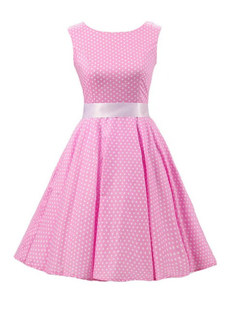 latest Sleeveless Polka Dot Pin Up Dress - PINK 2XL Mobile