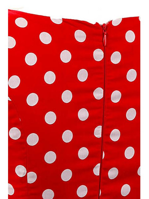lady Sleeveless Polka Dot Pin Up Dress - RED S Mobile