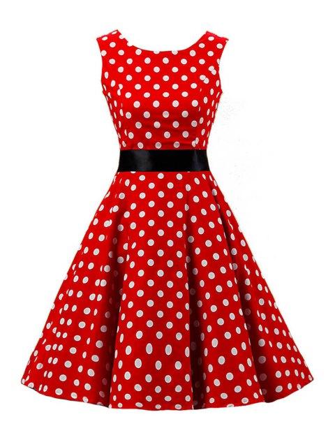 lady Sleeveless Polka Dot Pin Up Dress - RED S Mobile