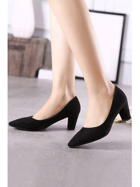 online Solid Color Suede Chunky Heel Pumps - BLACK 38 Mobile