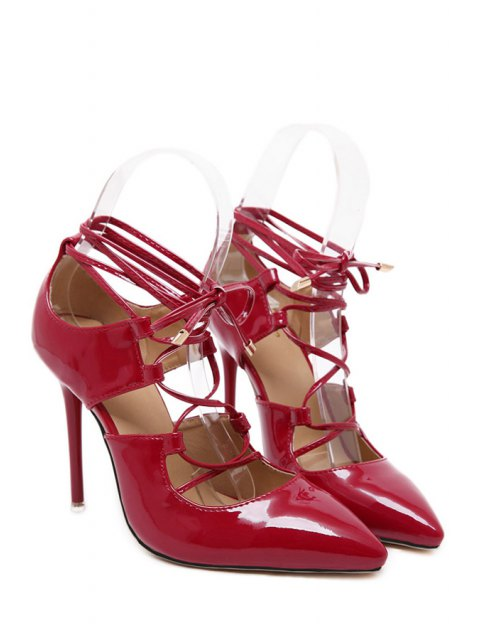 latest Solid Color Cross-Strap Stiletto Heel Pumps - RED 36 Mobile