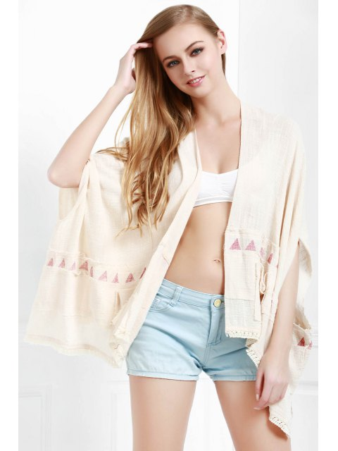 ladies Batwing Sleeve Fringed Kimono - WHITE M Mobile
