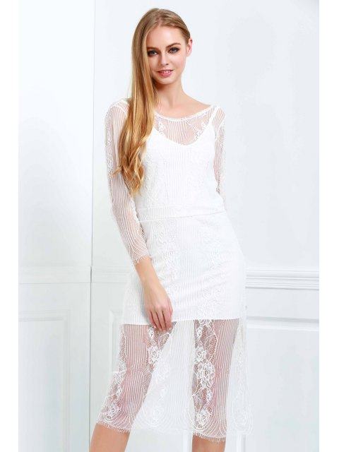 affordable White Lace Scoop Neck 3/4 Sleeve Dress - WHITE XL Mobile