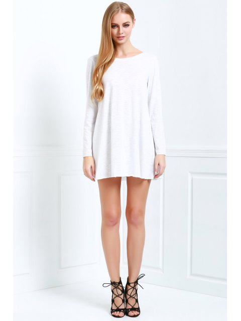 outfit Scoop Neck White Backless Long Sleeve Dress - WHITE M Mobile