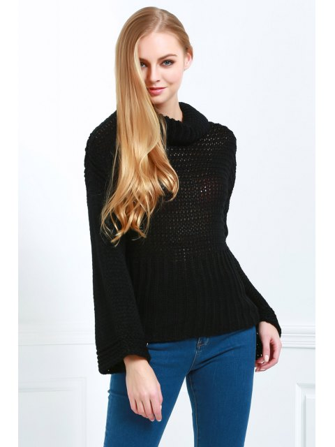 fashion Pure Color Turtle Neck Long Sleeve Jumper - BLACK ONE SIZE(FIT SIZE XS TO M) Mobile