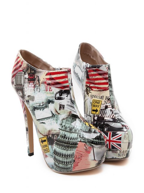 lady Color Matching Print Platform High Heel Boots - NUDE 37 Mobile