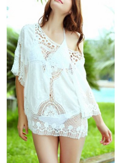 Solid Color Crocheted Half Sleeve Cover Up - White One Size(fit Size Xs To M)