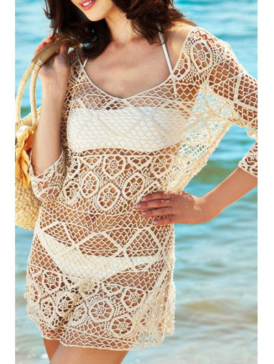 Crocheted Scoop Neck 3/4 Sleeve Mesh Cover Up - Off-white One Size(fit Size Xs To M)