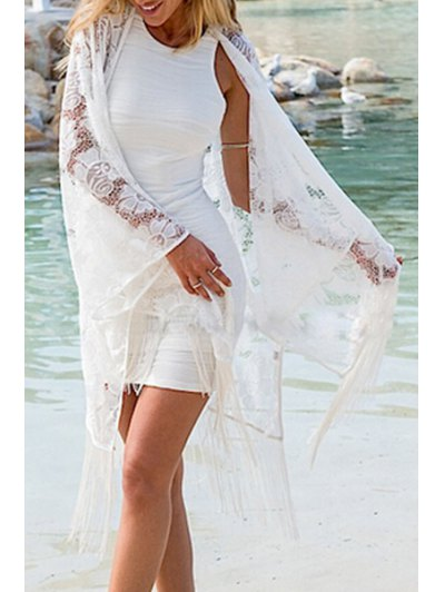 Tassels Spliced Long Sleeve Hollow Out Cover Up - White One Size(fit Size Xs To M)