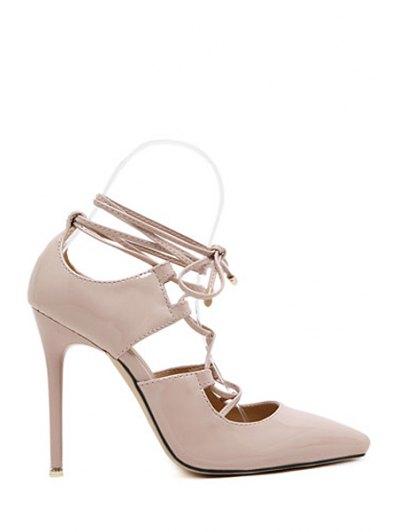 Solid Color Cross-Strap Stiletto Heel Pumps - Nude