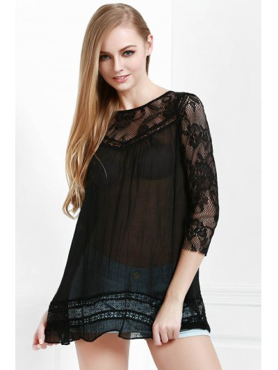 Round Neck 3 4 Sleeve Lace Spliced See Through Blouse