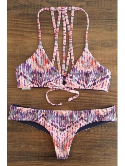 Spaghetti Strap Printed Lace-Up String Bikini Set