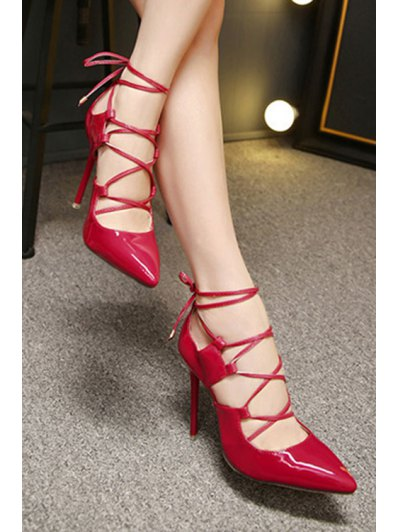 Solid Color Cross-Strap Stiletto Heel Pumps - RED 36 Mobile