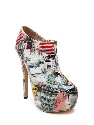 Color Matching Print Platform High Heel Boots - NUDE 37 Mobile