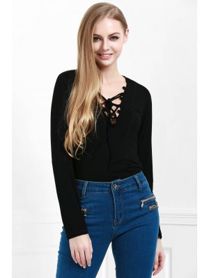 Lucky Lace Up Top - Black