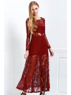 Lace Scoop Neck Long Sleeve Maxi Dress - Wine Red