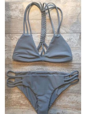 Gray Cutout   String Bikini Set - Gray