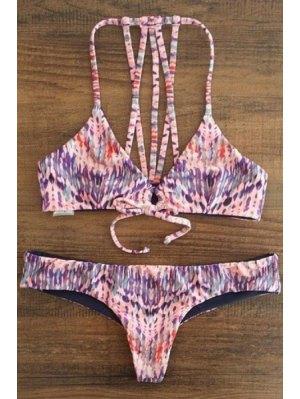Spaghetti Strap Printed Lace-Up String Bikini Set