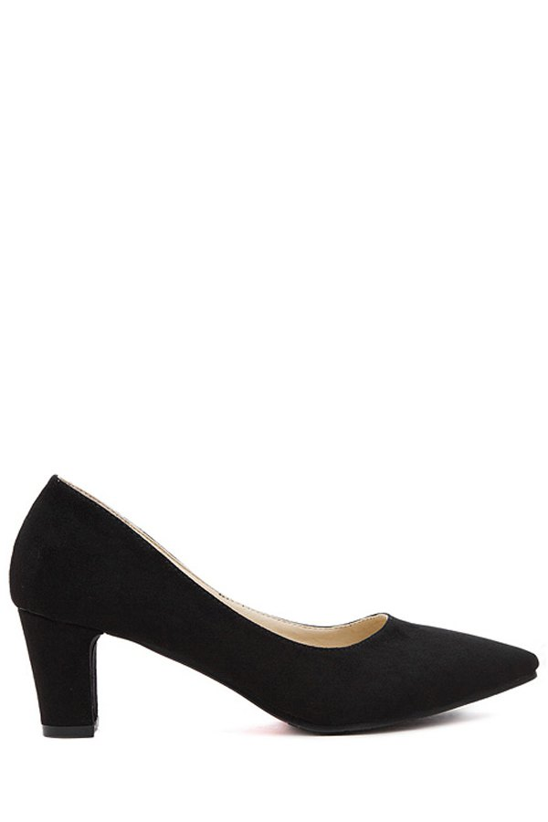 Solid Color Suede Chunky Heel Pumps