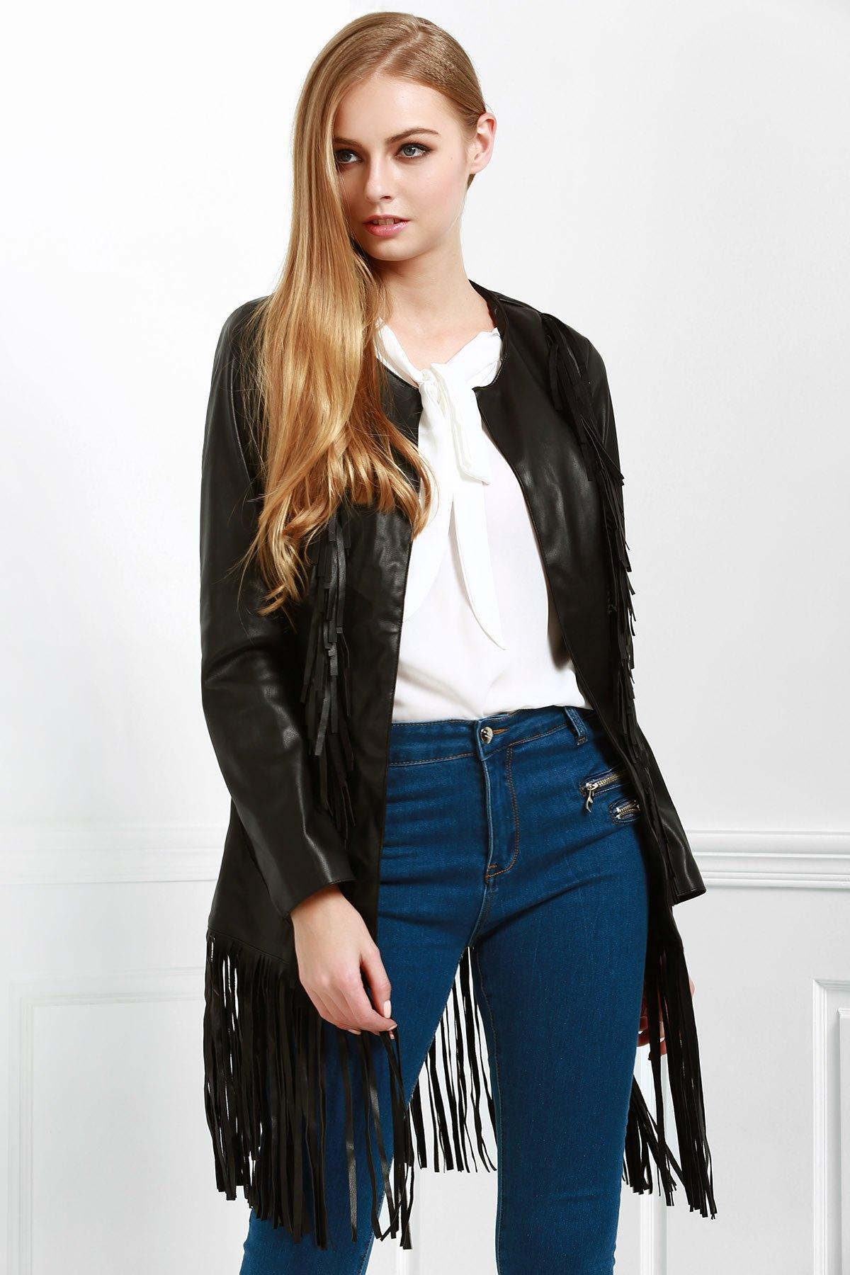 Long Fringe PU Leather Jacket