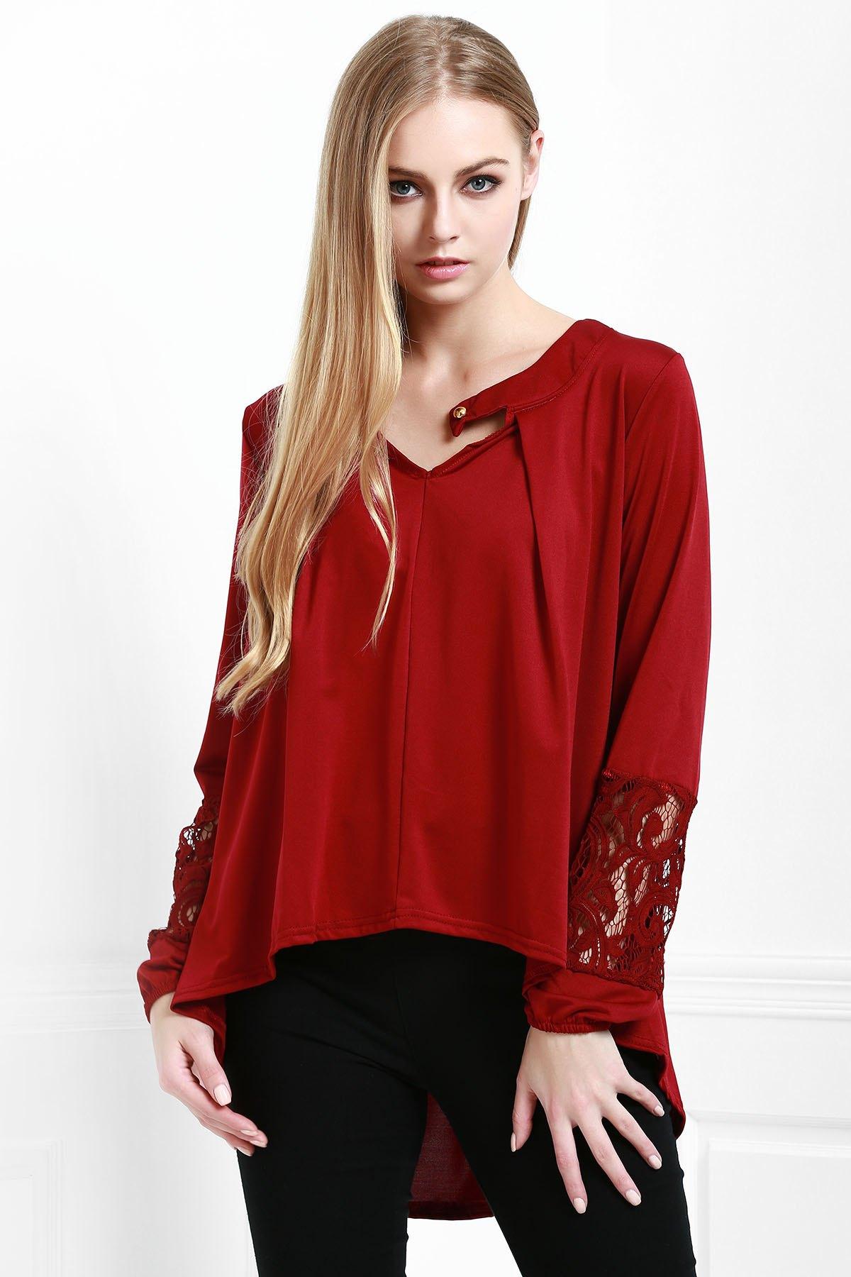 Crochet Spliced Long Sleeve Loose Dress WINE RED: Long ...