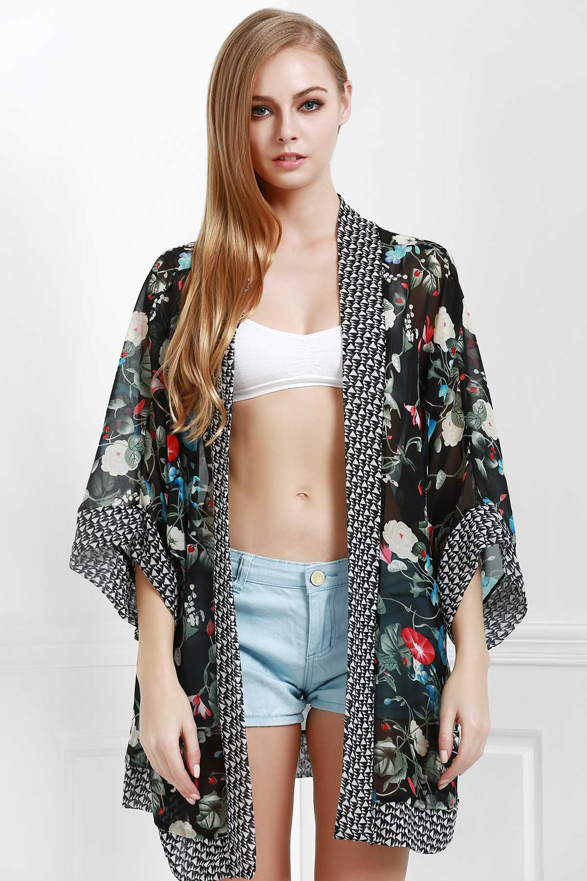 Open Front Wide Sleeve Floral Print Cover-Up