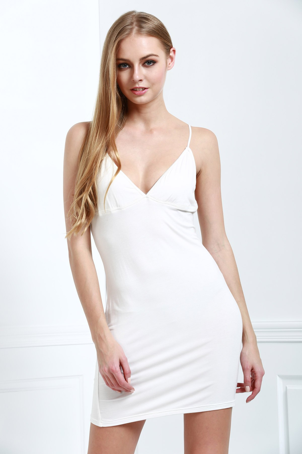 Spaghetti Strap Sleeveless Solid Color Bodycon Dress