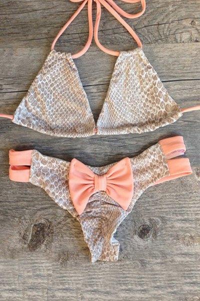 Halter Snakeskin Print Bowknot Embellished String Bikini Set