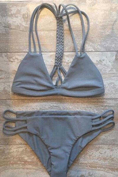 Gray Cutout String Bikini Set