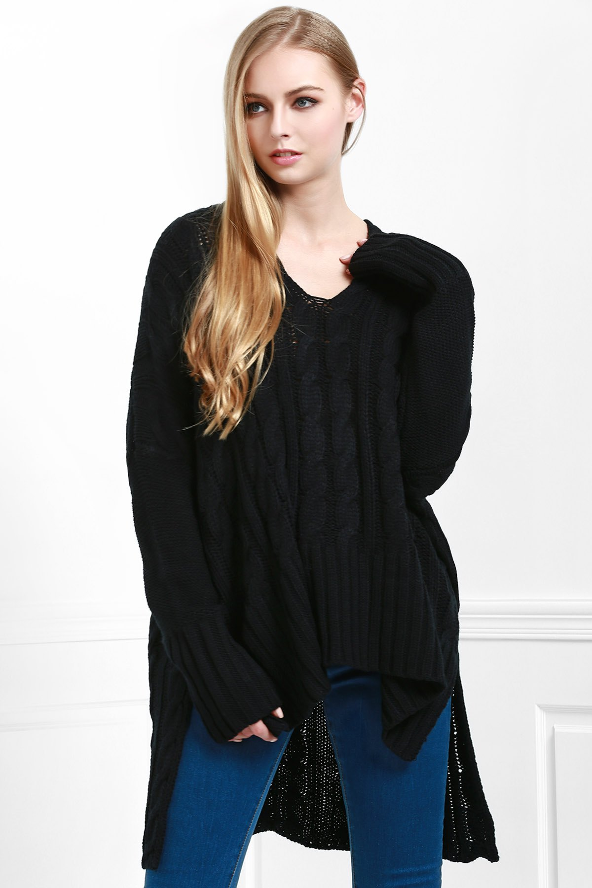 V-Neck Cable Knit High Low Sweater