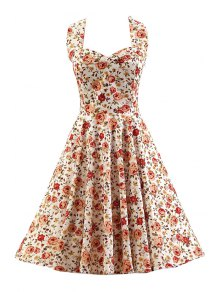 Smocked Rose Print Swing Dress