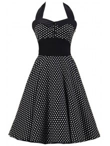 Polka Dot Bowknot Design Pin Up Dress