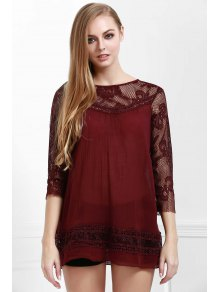 Lace Spliced See-Through Blouse - CLARET S