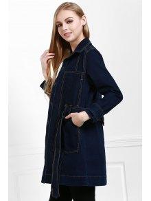 Denim Turn-Down Collar Long Sleeves Blue Dress - PURPLISH BLUE S