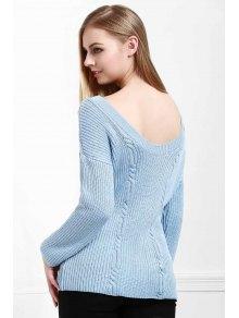 Blue Jewel Neck Long Sleeve Jumper