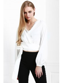Long Sleeve White Self-Tie Fall Top - WHITE S