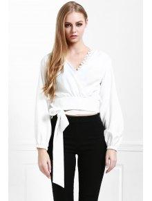 Long Sleeve White Self-Tie Fall Top
