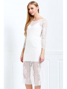 White Lace Scoop Neck 3/4 Sleeve Dress