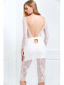 White Lace Scoop Neck 3/4 Sleeve Dress - White M