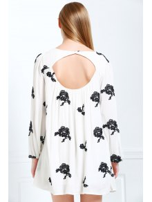 V Neck Floral Embroidery Long Sleeve Dress