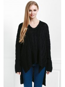 V-Neck Cable Knit High Low Sweater - BLACK M