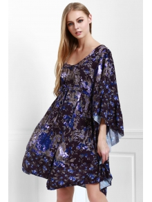 Tiny Floral Square Neck 3/4 Sleeve Dress