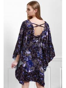 Tiny Floral Square Neck 3/4 Sleeve Dress - PURPLE S