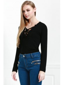Lucky Lace Up Top - BLACK S