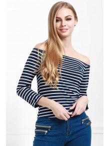 Striped Off The Shoulder Seamless Top - BLUE S