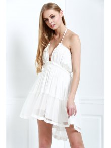 Halter Lace-Up Open Back High-Low Hem Splicing Dress
