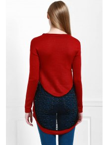 Openwork Lace Spliced Round Color Long Sleeves Sweater