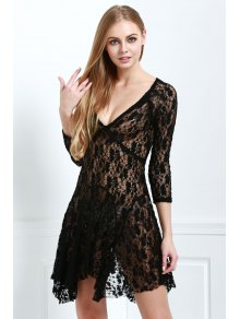 Lace 3/4 Sleeve Solid Color Dress