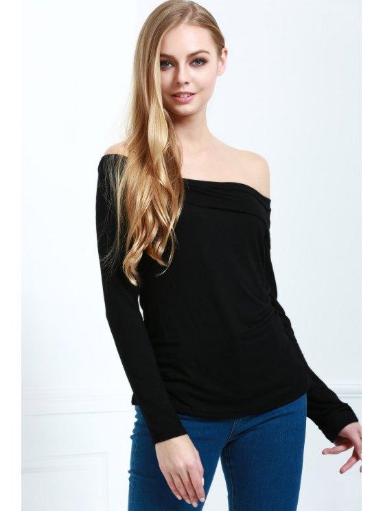 Recortar cuello de manga larga camiseta de Cassiopia - Negro M
